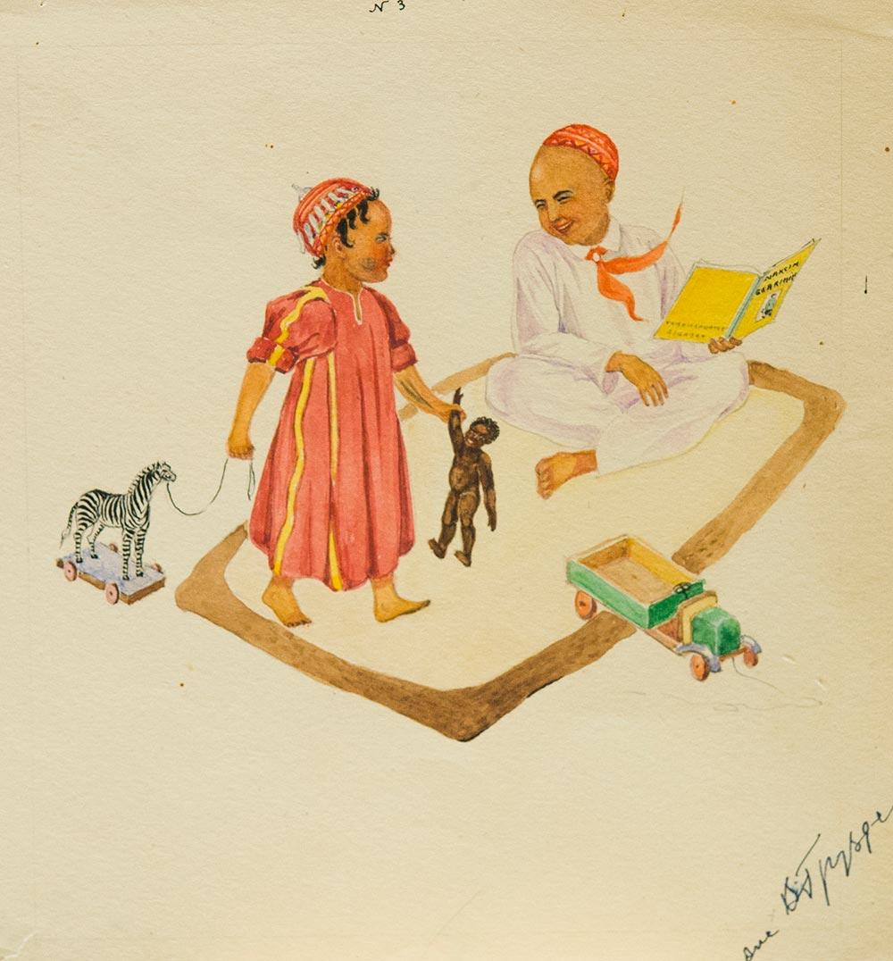 Первый детский сад Туркмении. 5 графических рисунков.