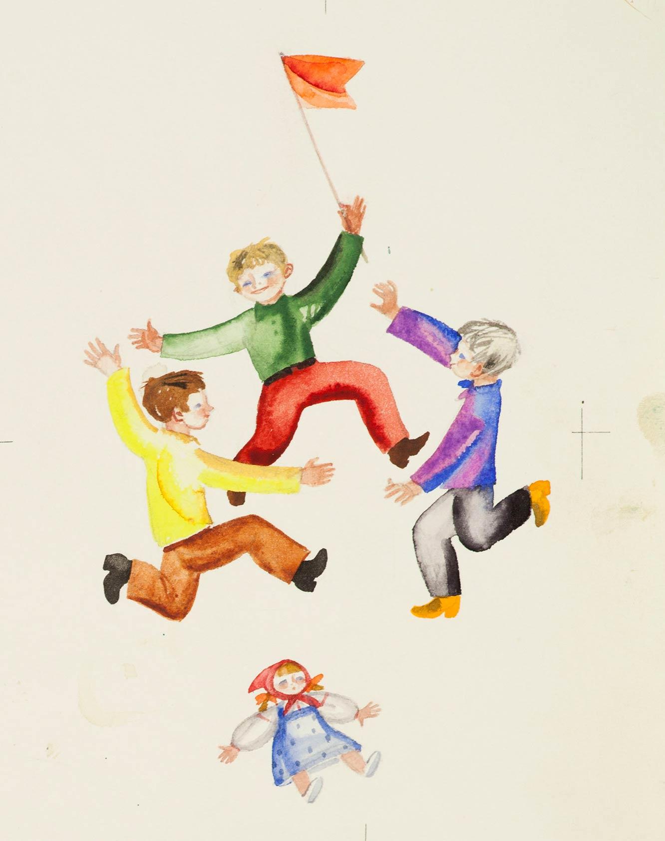 Иллюстрации к книге Е. Благининой «Бабушка-забота». 5 листов.
