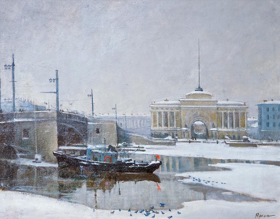 Вид на Неву и Дворцовый мост.