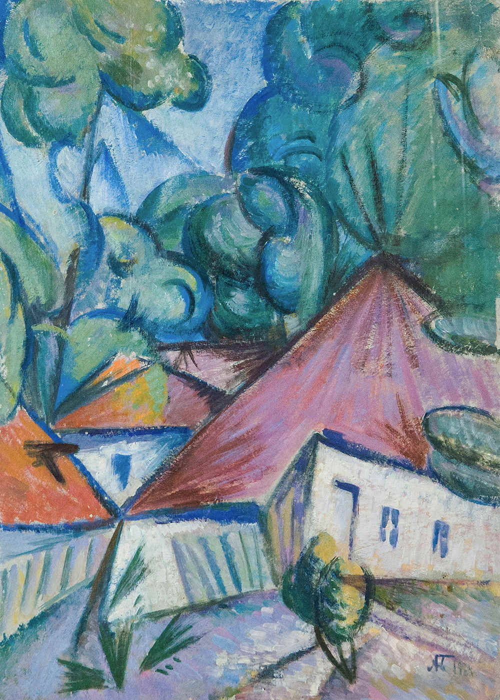 Landscape with houses.
