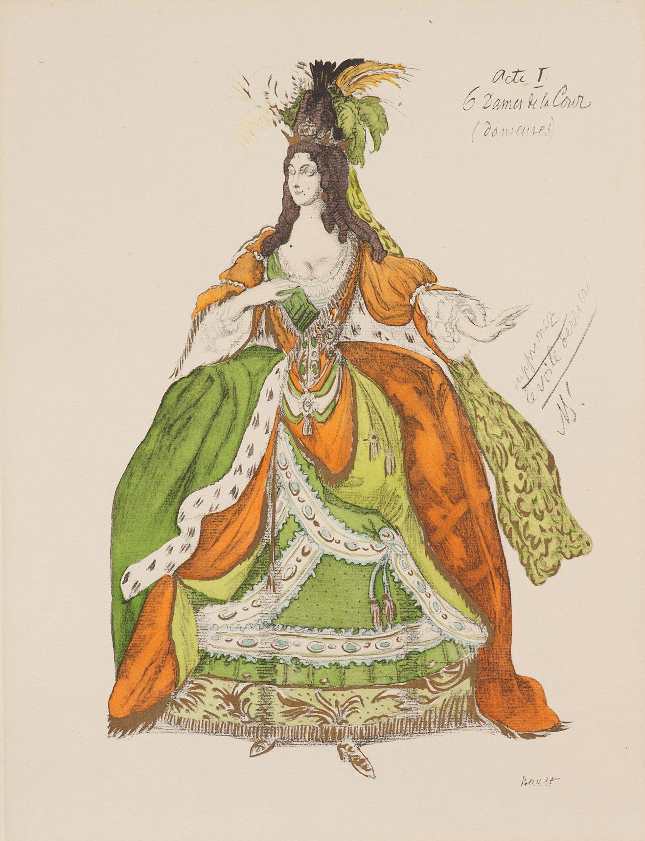 Эскиз костюма придворной дамы для балета на музыку П.И. Чайковского «Спящая красавица».