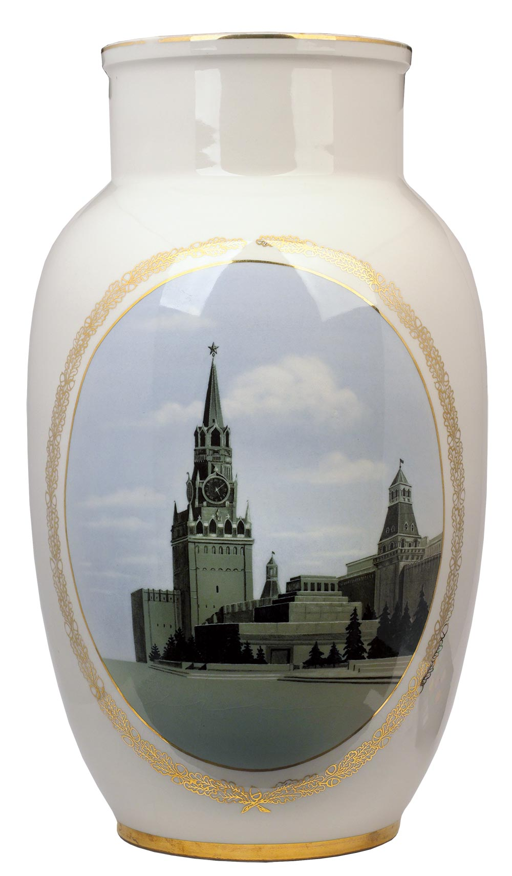 Vase with the image of the Spasskaya Tower and the Mausoleum.