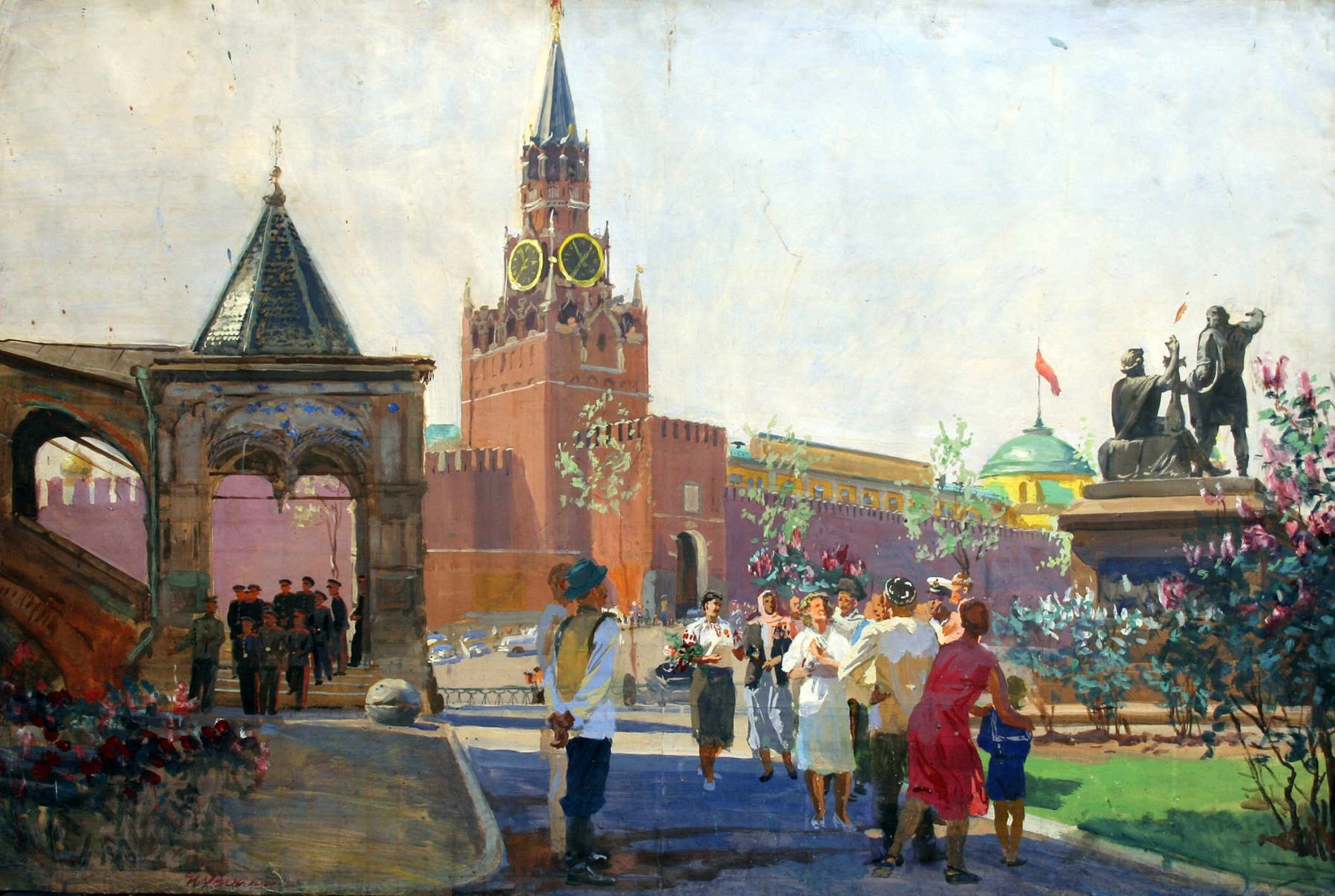 Moscow is the capital. A sketch of the painting of the advance of the Soviet exhibition in Beijing.
