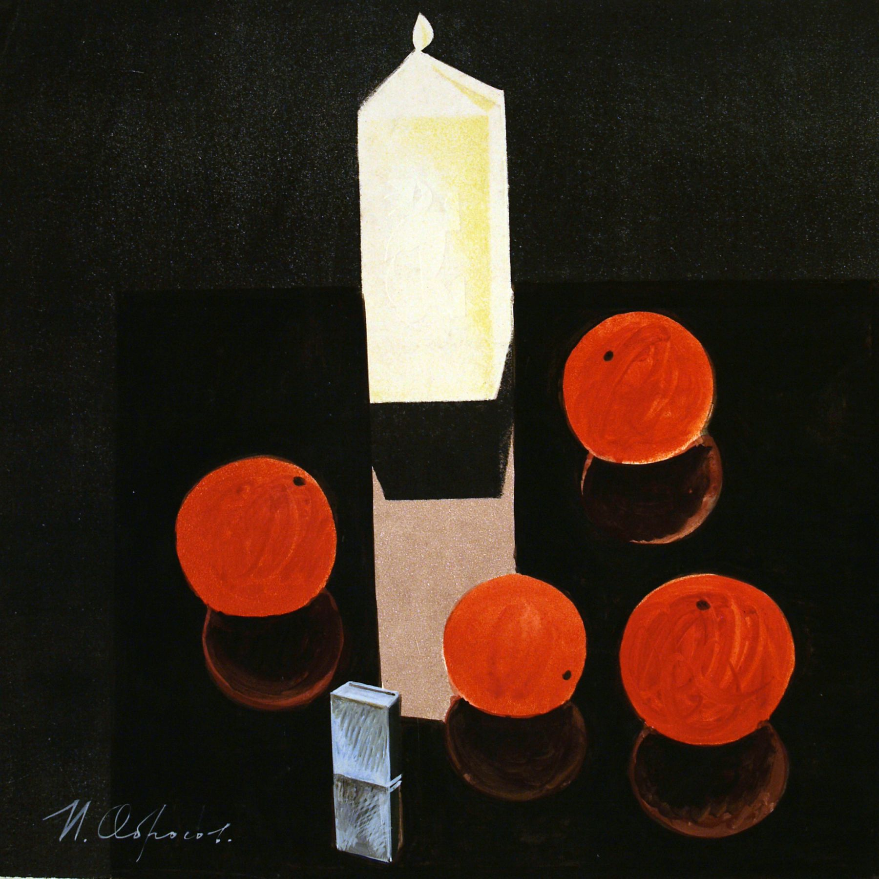 Still life with a candle.