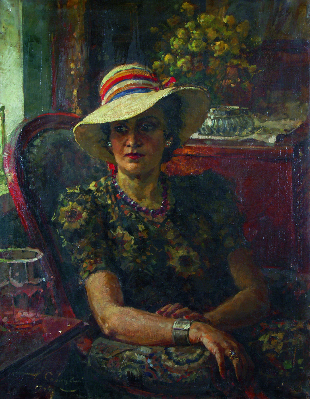 Portrait of his wife.