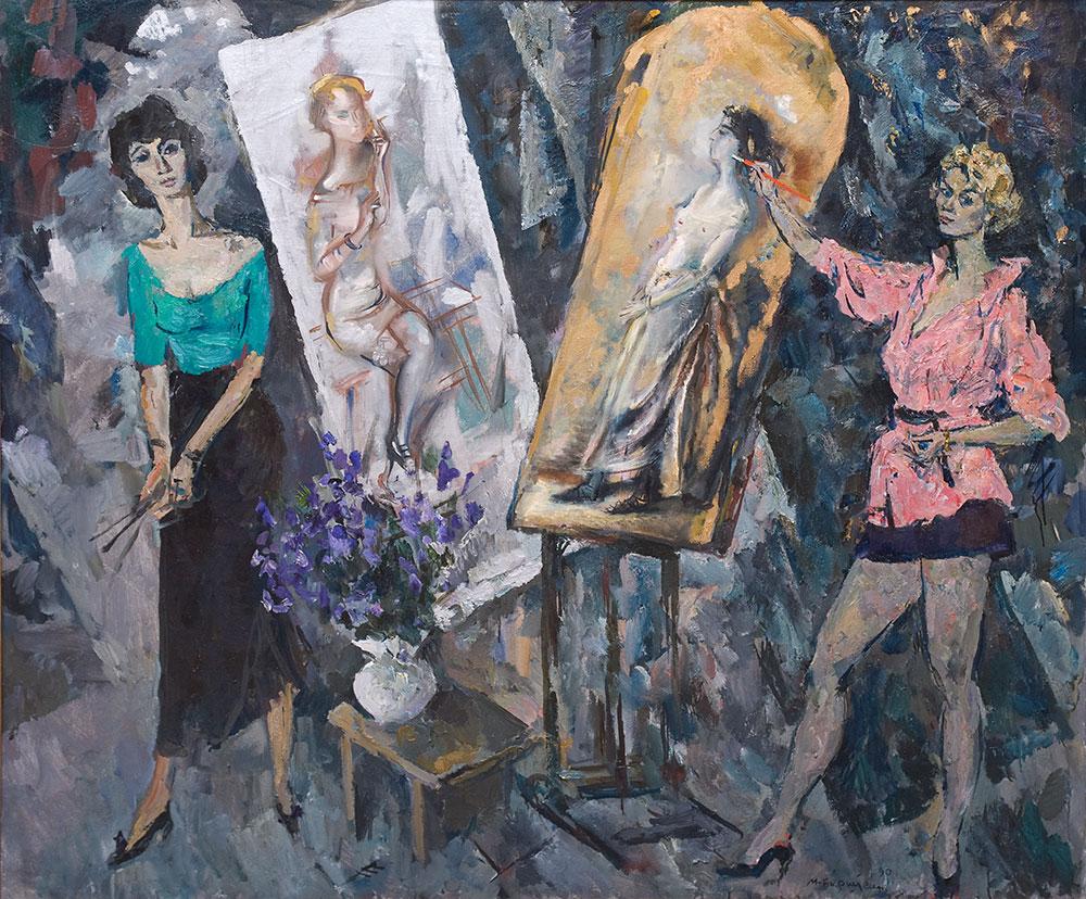 Люся Попенко и Катя Козлова, молодые художницы.
