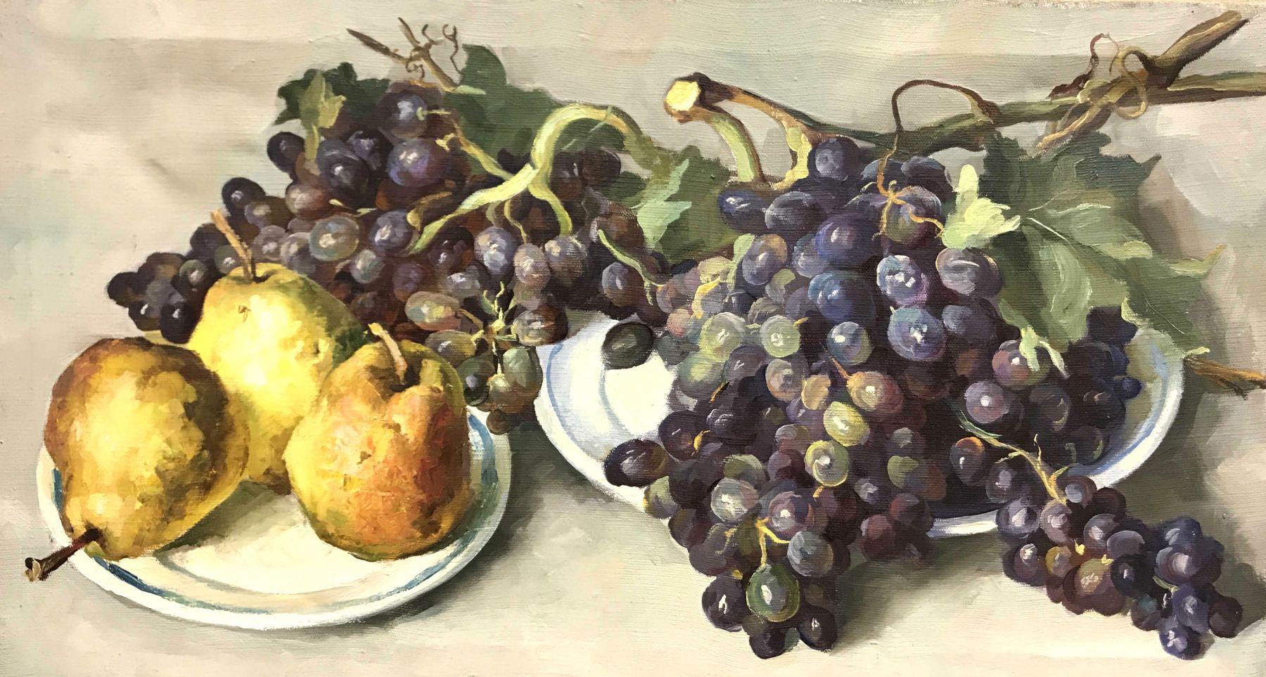 Натюрморт с виноградом и грушами.