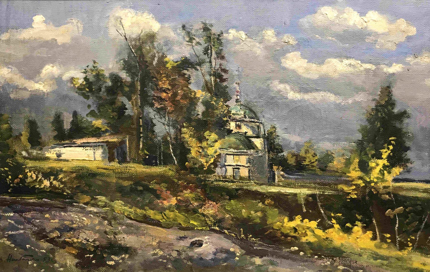 Autumn landscape with a church.