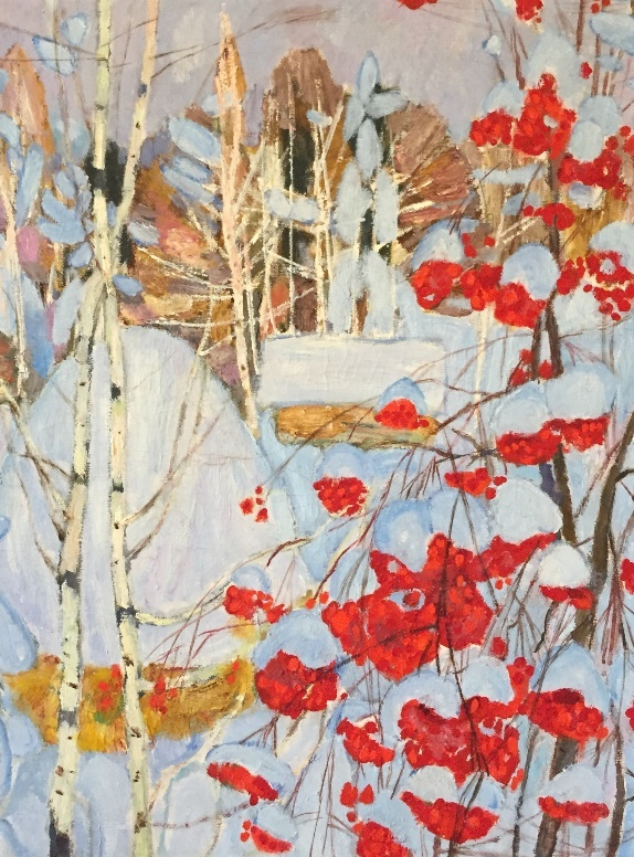 Winter landscape with mountain ash. (FRAGMENT)