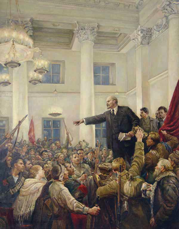 Lenin proclaims Soviet power.