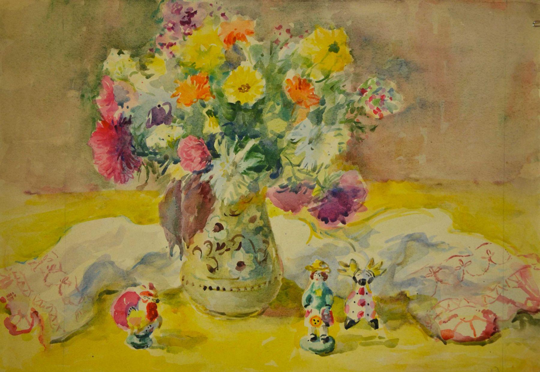 Натюрморт с цветами и дымковской игрушкой.