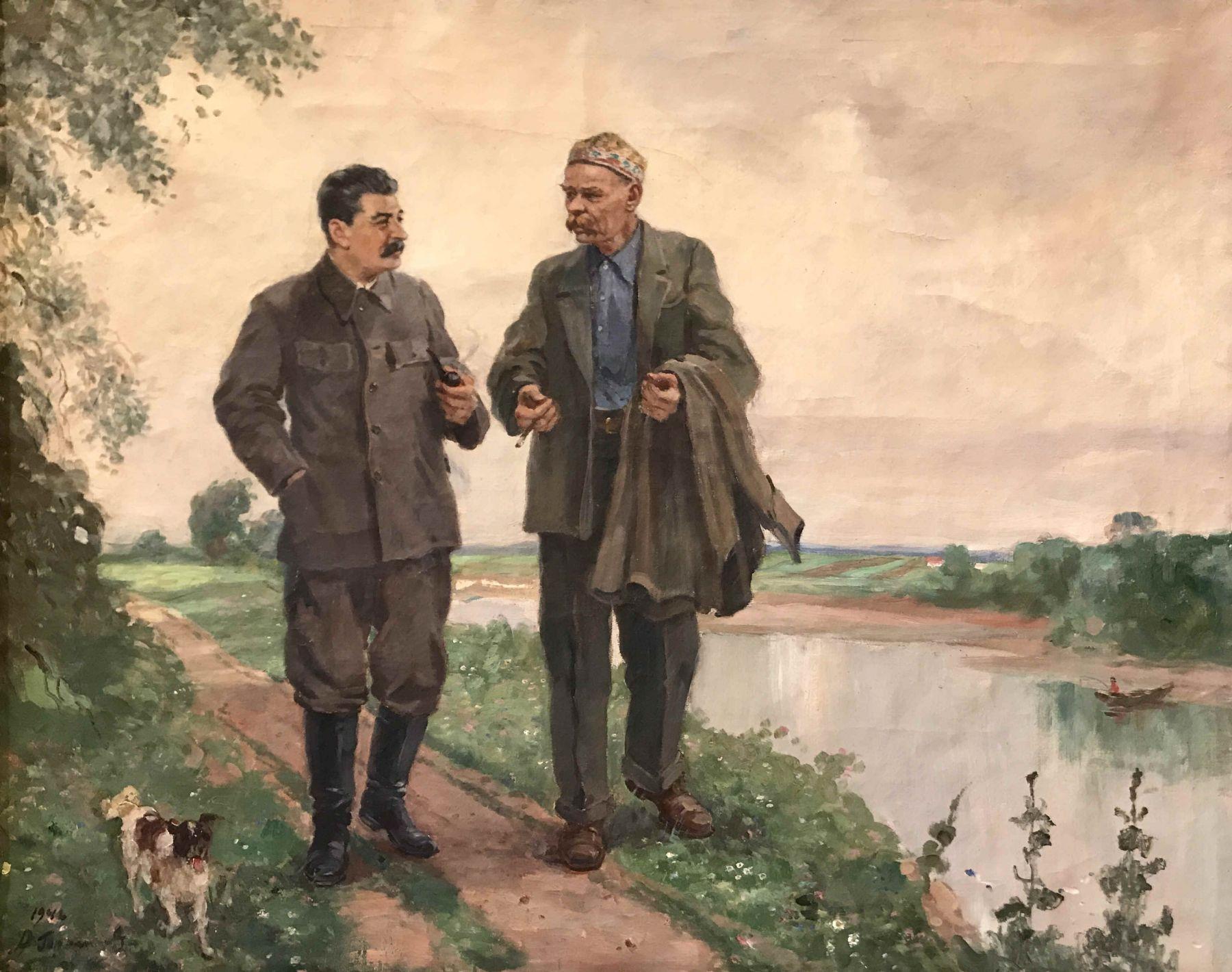 I.V.Stalin and A.M. Gorky on a walk.
