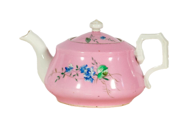 Teapot with painted wildflowers on a pink background.