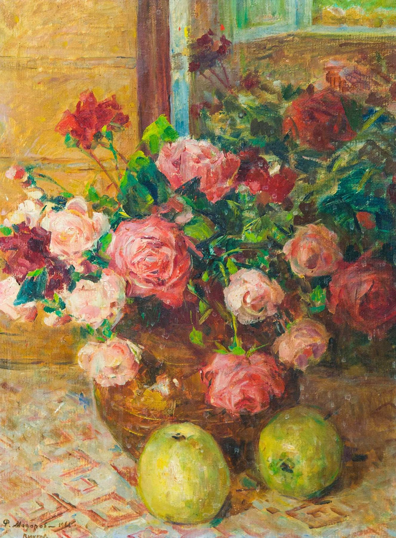 Still-life with apples and roses.