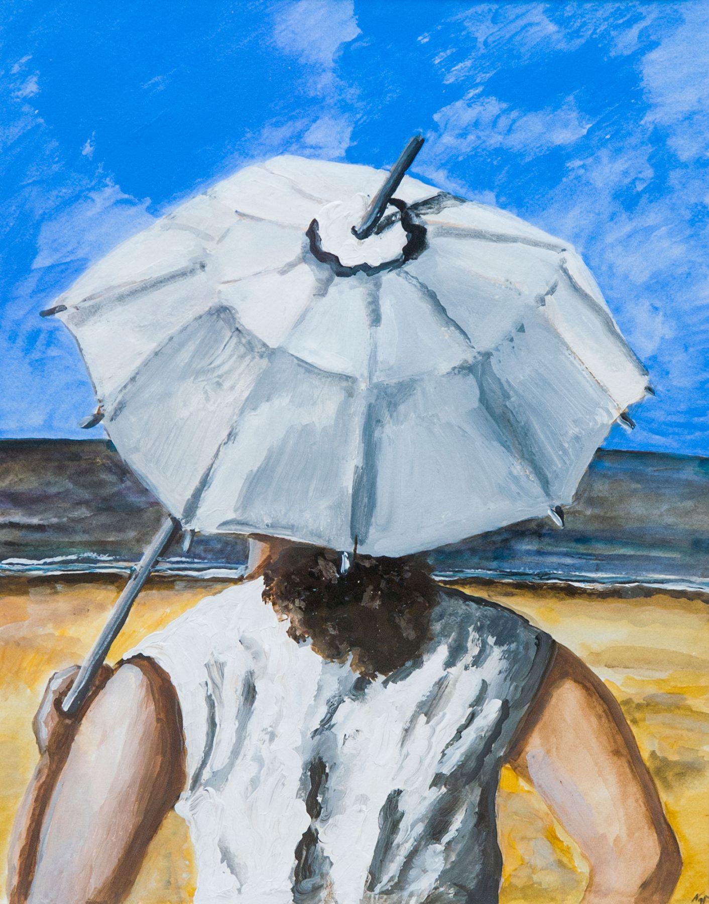 Under umbrella.