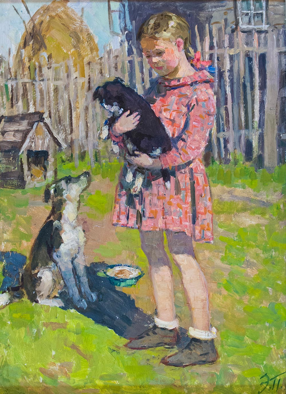 Girl with a puppy.