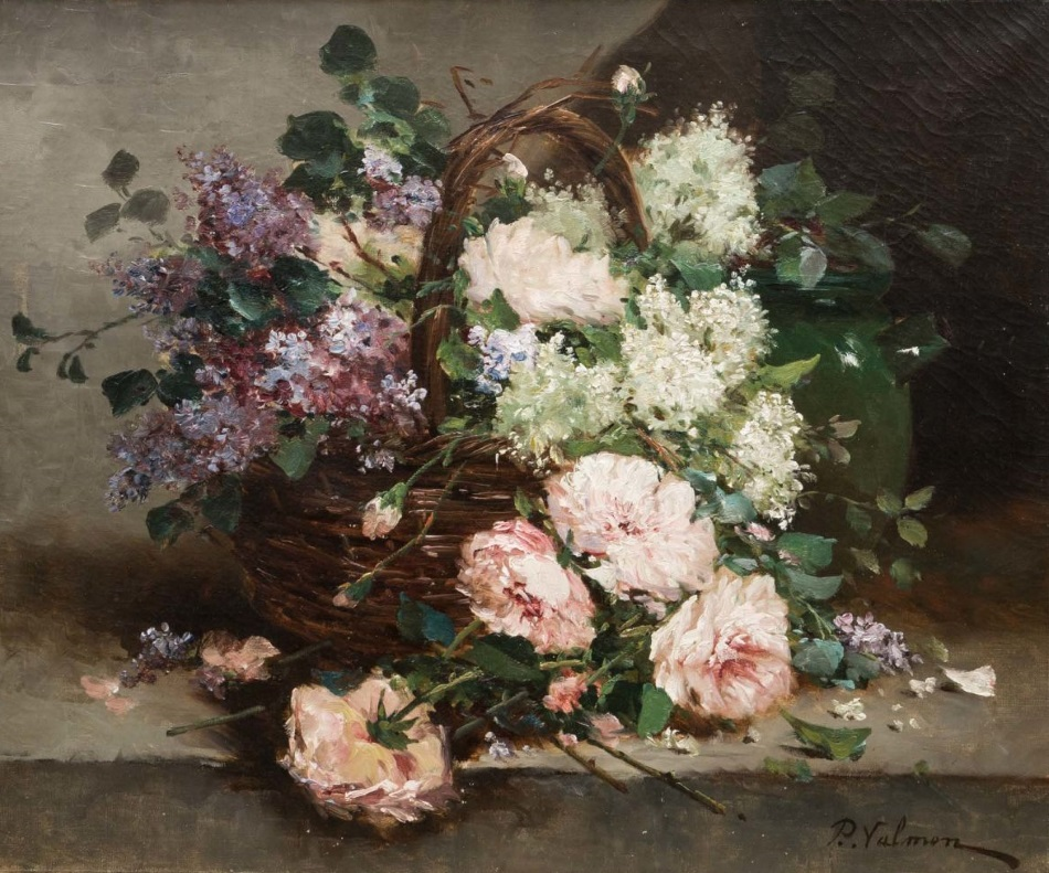 Still life with a basket of flowers.