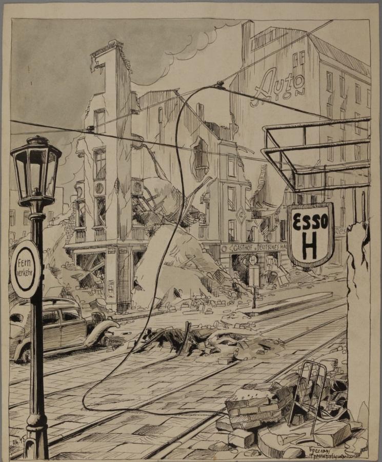 Breslau. Frankfurter Strasse. Germany. WWII. 1945. Now Wrocław, Poland.