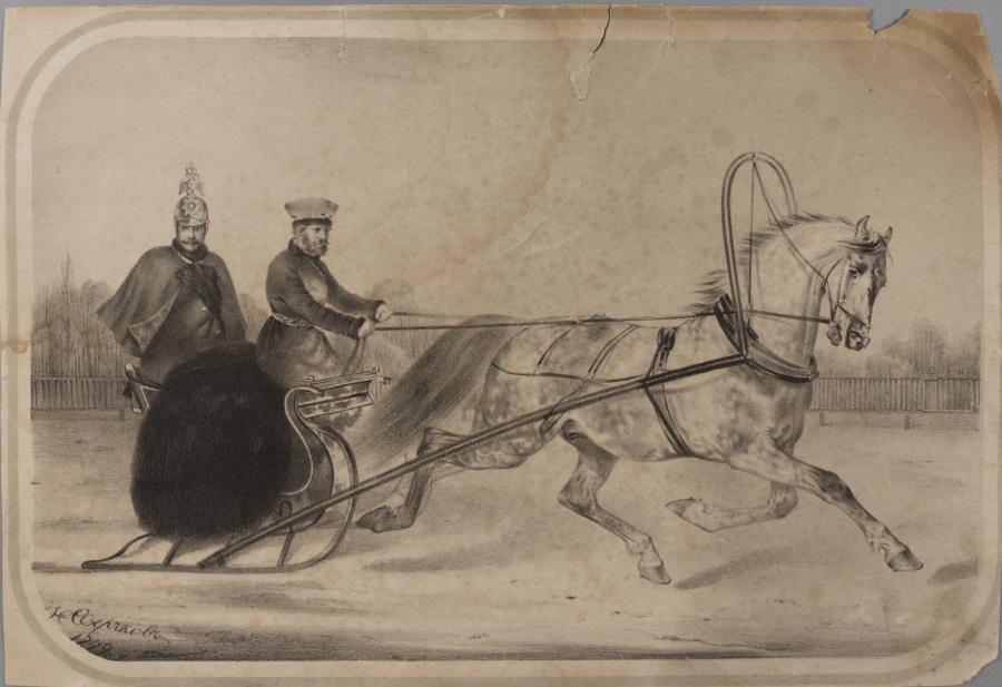 Император Николай I на зимней прогулке.