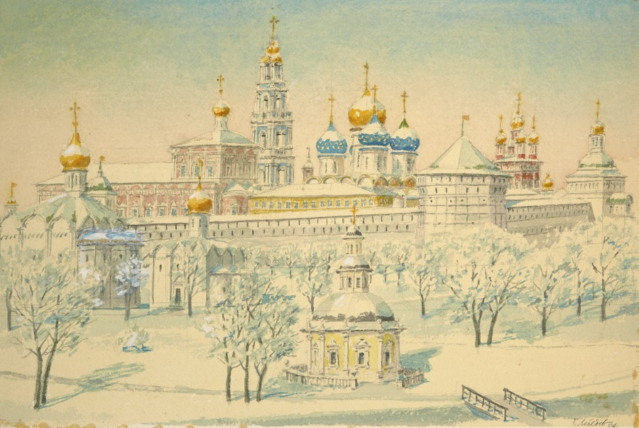 The Holy Trinity-St. Sergius Lavra. Frost.