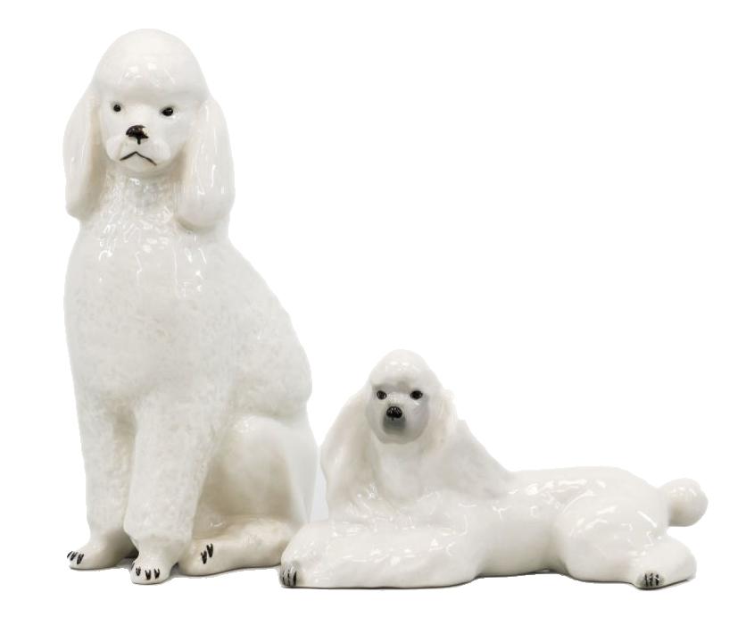 Сет из двух скульптур пуделей.