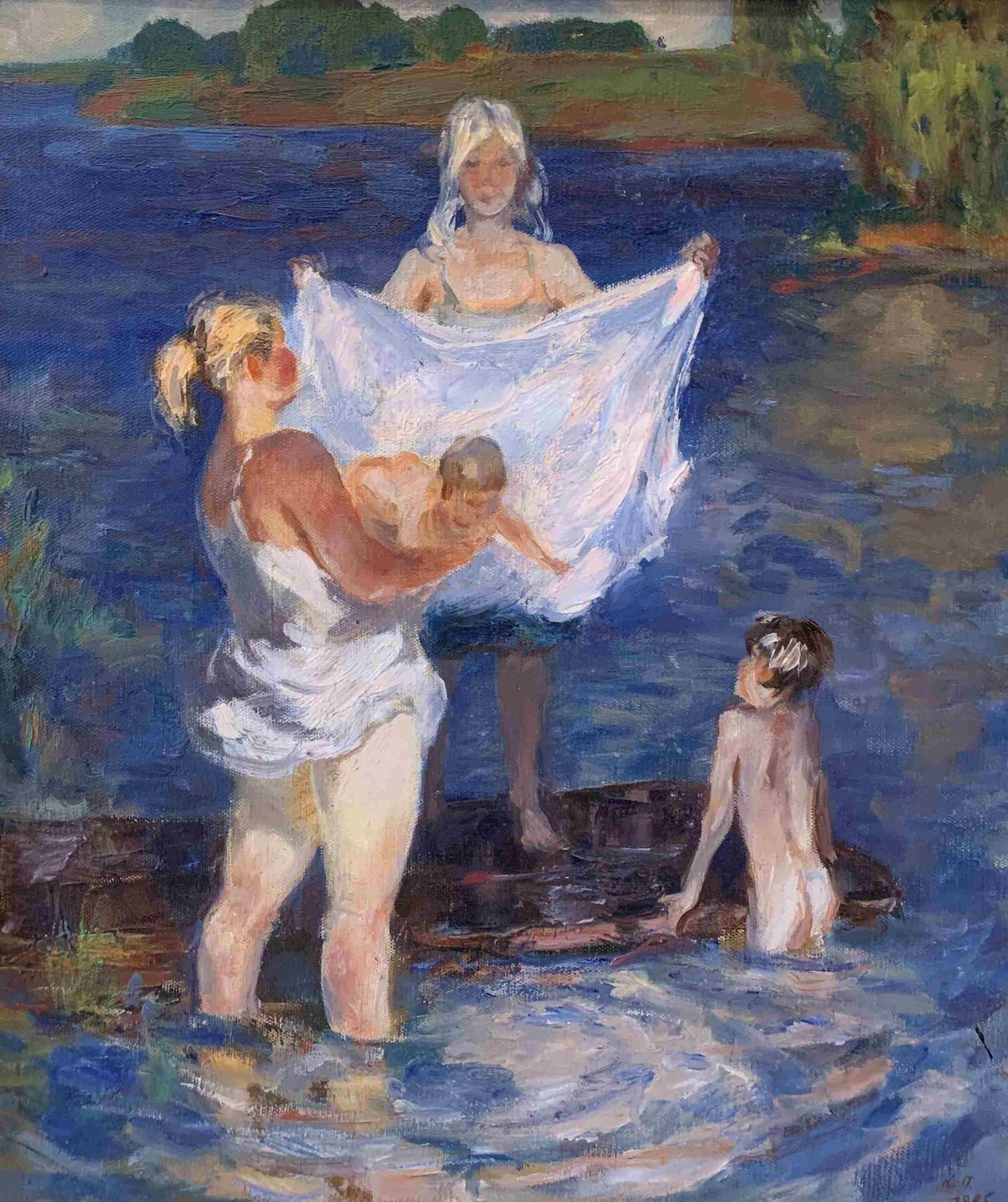 Bathing a child on a summer day.