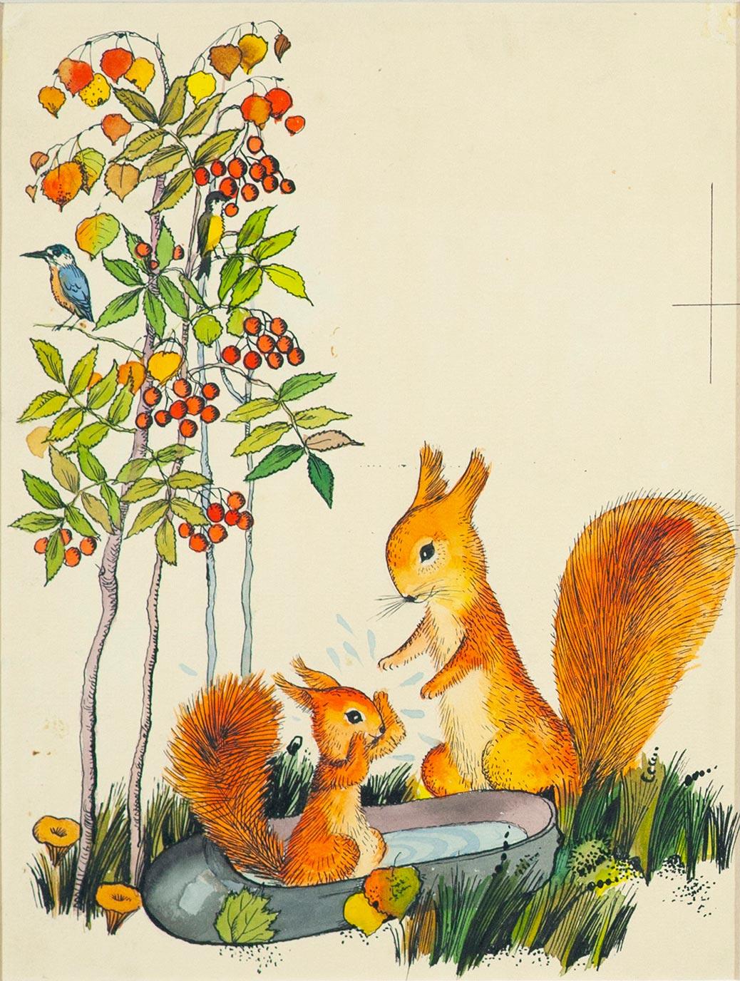 Белка и бельчонок. Иллюстрация к книге М. Пляцковского