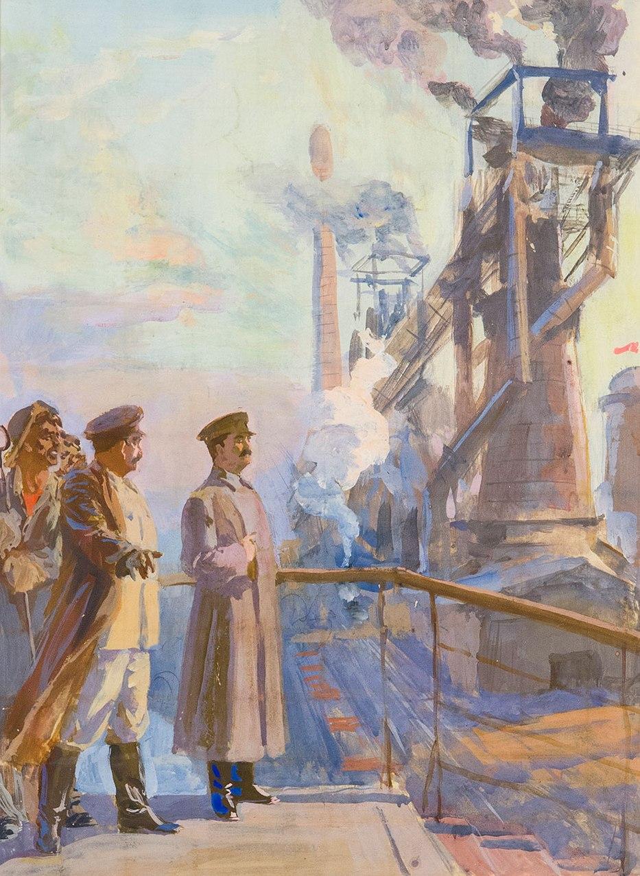 Товарищ Сталин на металлургическом заводе-гиганте.