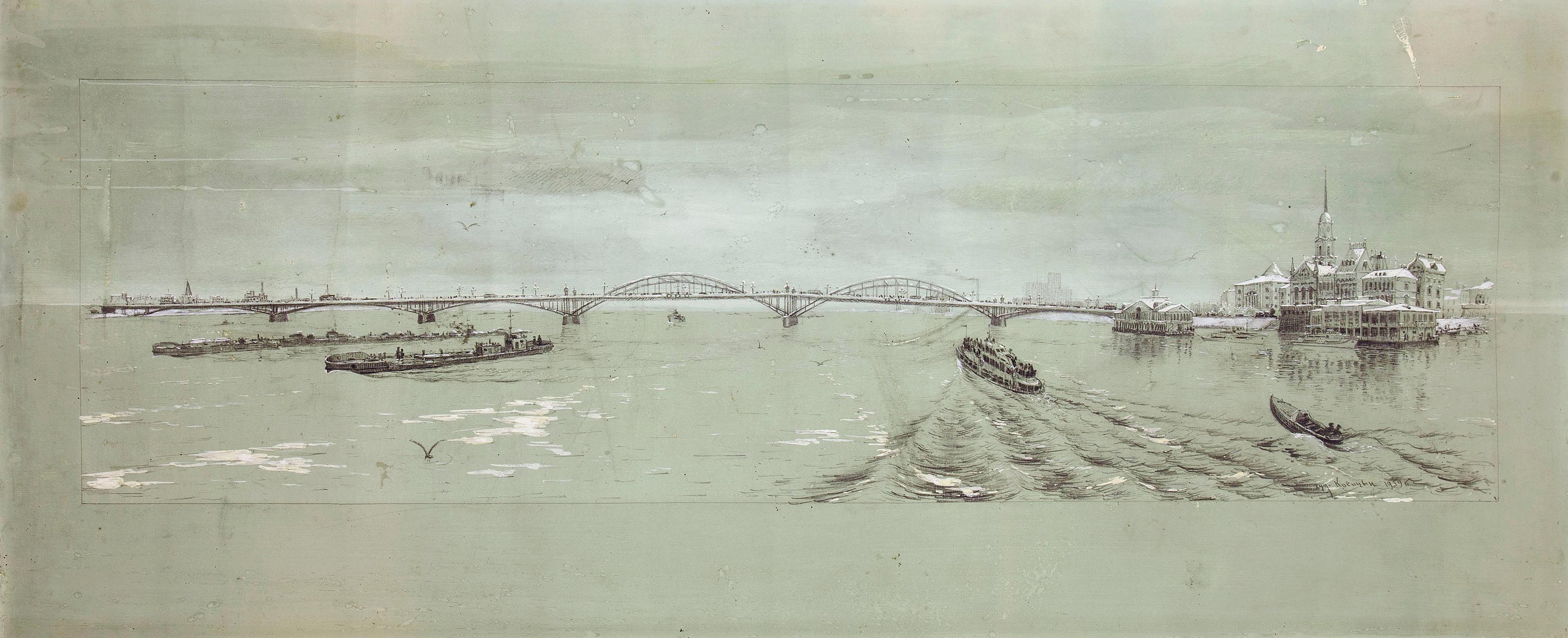 Мост через Волгу в Сызрани.
