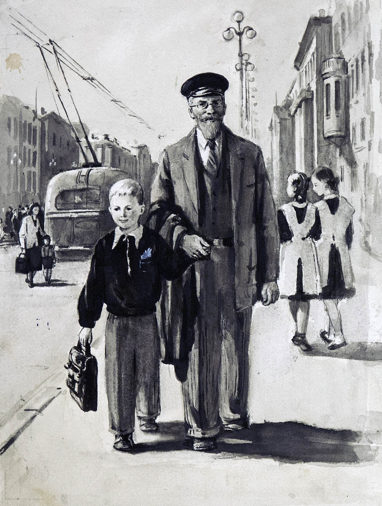 Смотрите, какой большой! Иллюстрация к книге Н.Никич «Андрюша идет в школу».