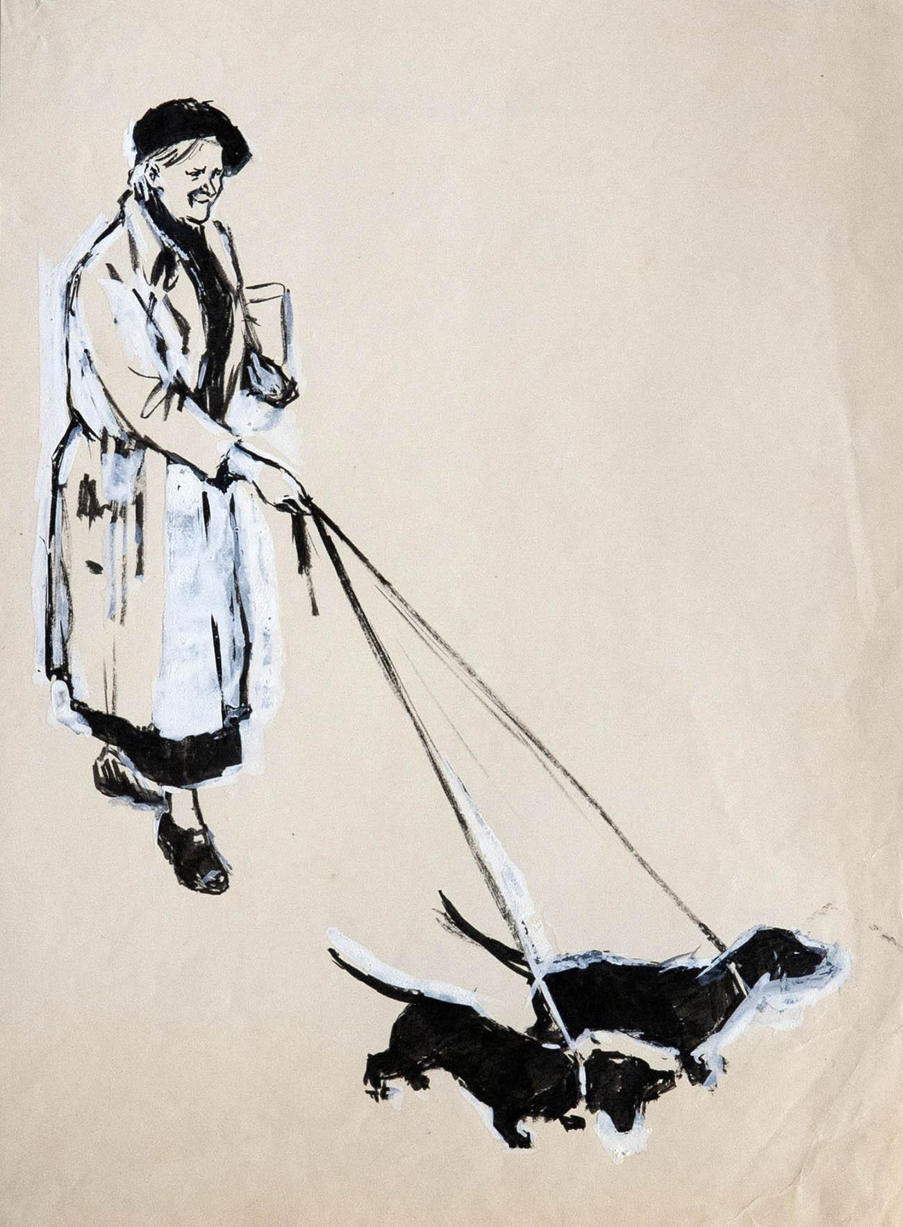 Две собаки. Иллюстрация к книге Н.Никич «Андрюша идет в школу».