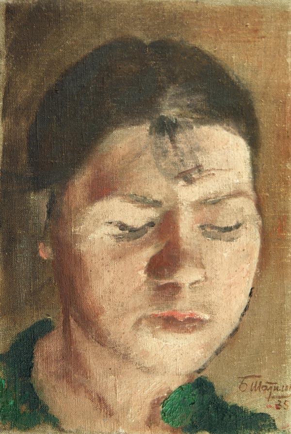 Женский портрет, двухстороння.