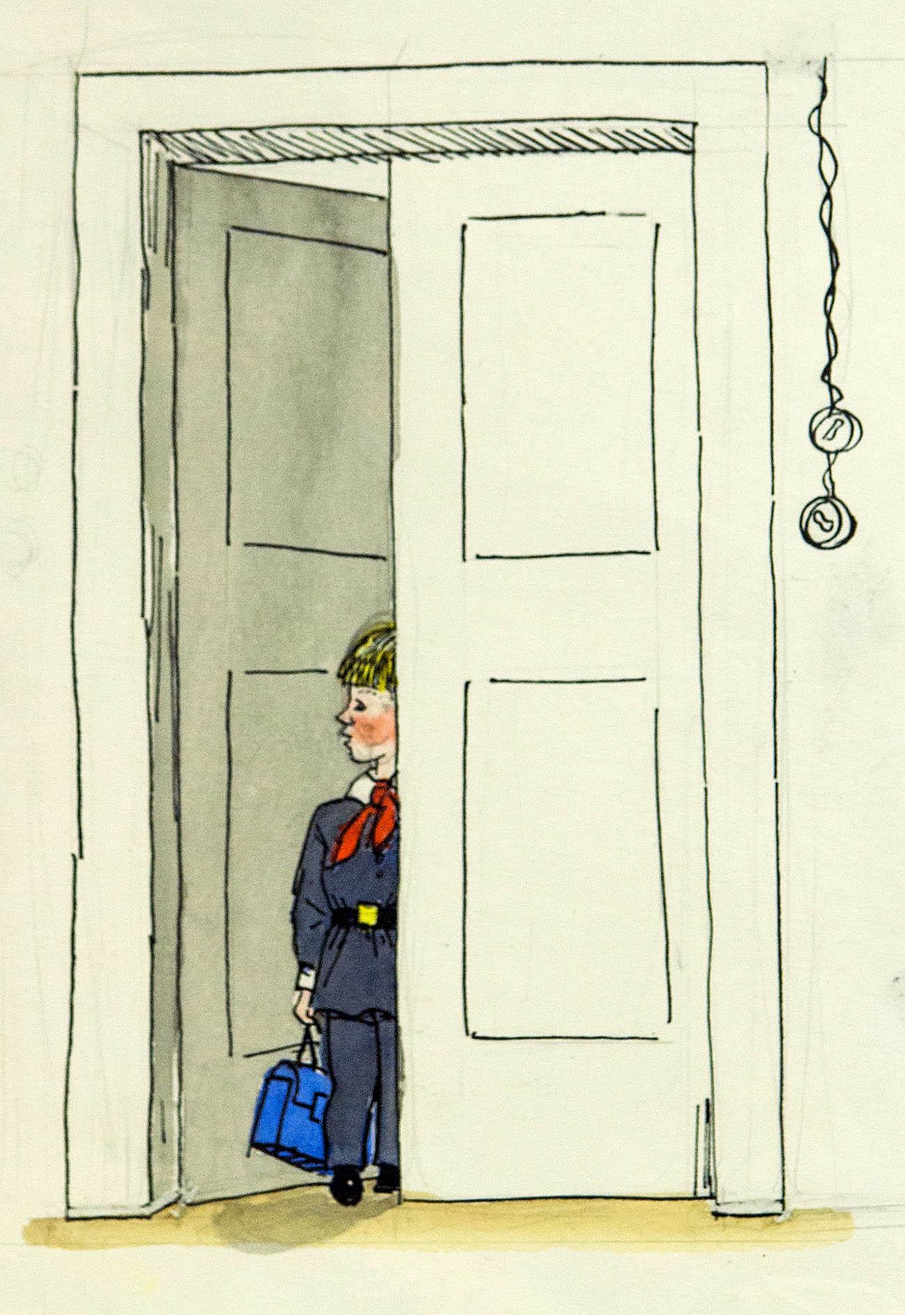 Каникулы кончились... Оригинал иллюстрации к повести «Витя Малеев в школе и дома» Н. Носова.