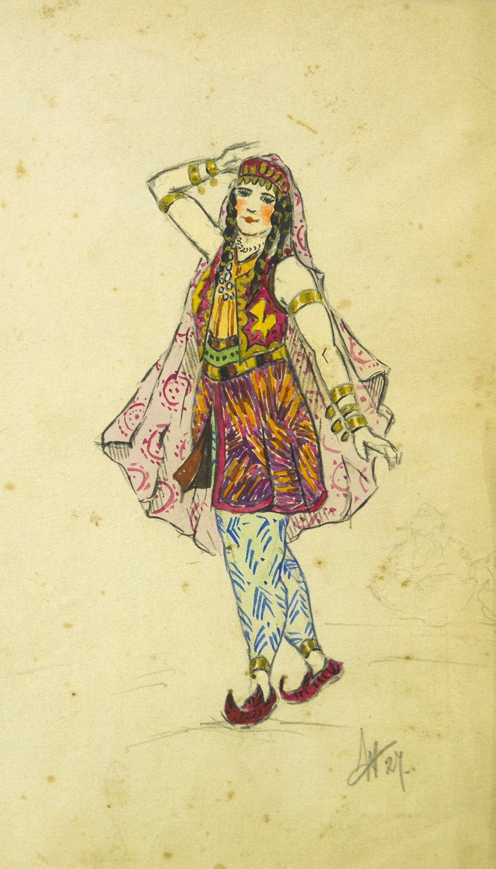 Эскиз костюма к балету Бахчисарайский фонтан. Зарема.