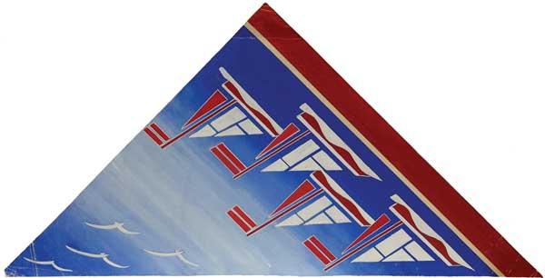 Три эскиза к рисункам тканей.1. Северные мотивы.Подпись внизу. 2. Рыбки. Подпись на обороте. 3. Кораблики. Подпись на обороте.