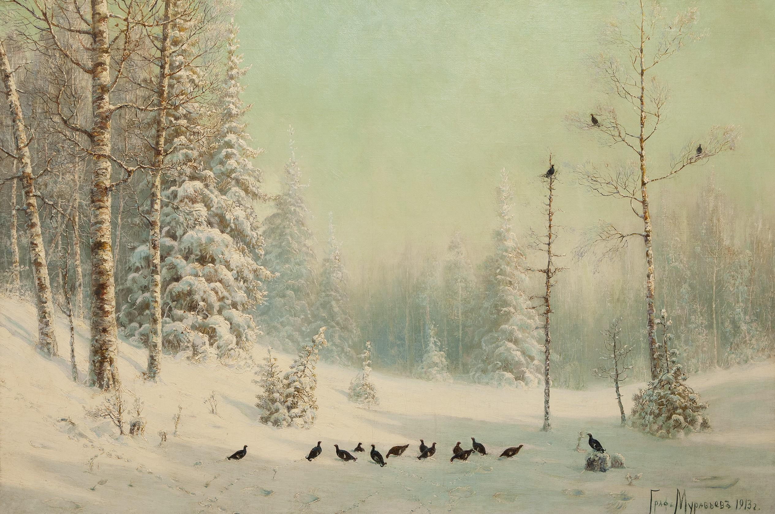 Тетерева в зимнем лесу.