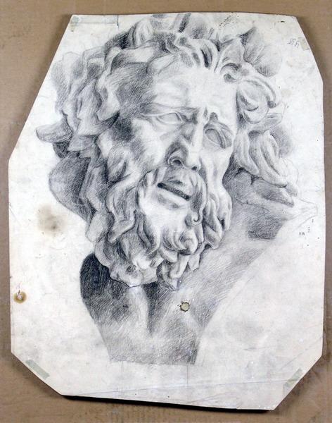Голова Лаоокона в профиль. На обороте Голова Лаокона в три четверти.