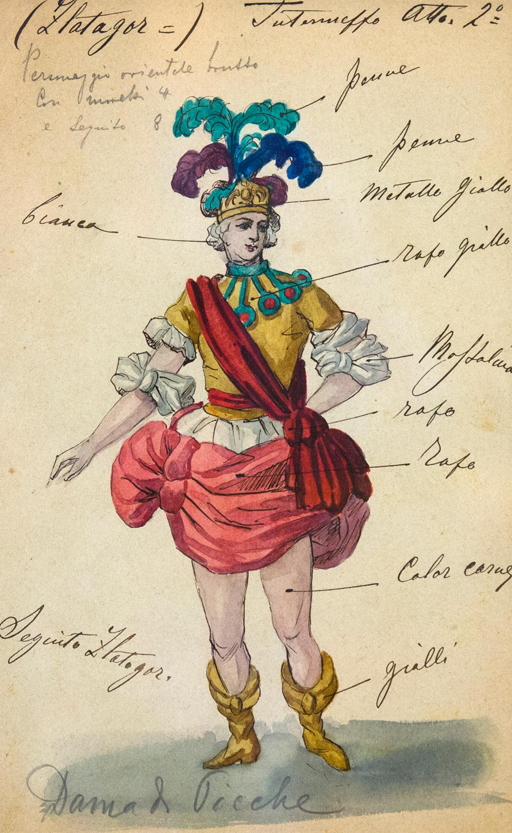 Златогор. Эскиз театрального костюма к балету «Пиковая дама».