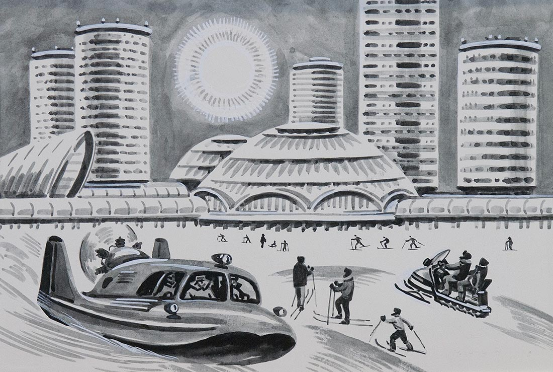 Город на длинных ногах. Иллюстрация к книге В.Корзина