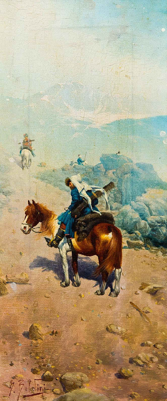 Всадники в горах Кавказа.