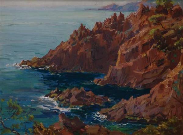 Вечерний морской пейзаж. Скалистый берег океана.
