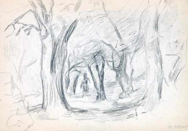 Крестьянка с коровой. На обороте: Фигура меж деревьев.
