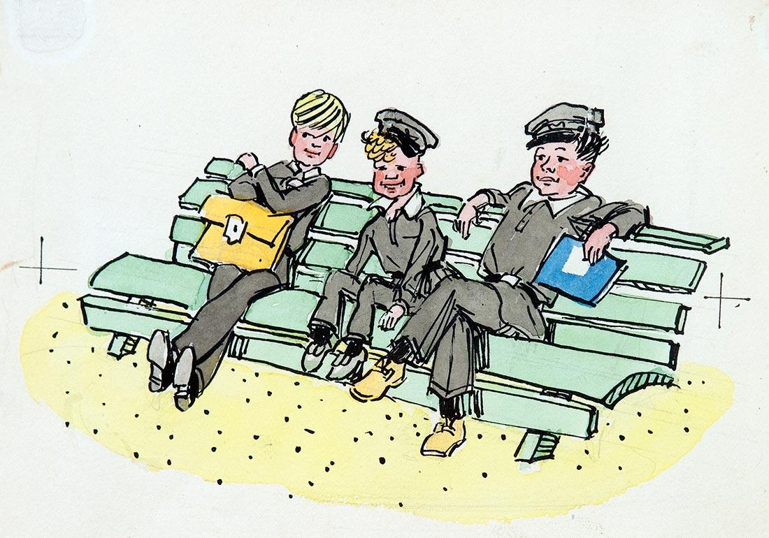На скамейке.