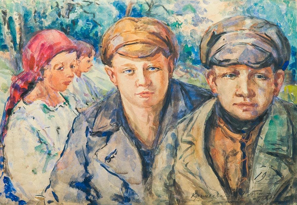Крестьянские дети. (На обороте