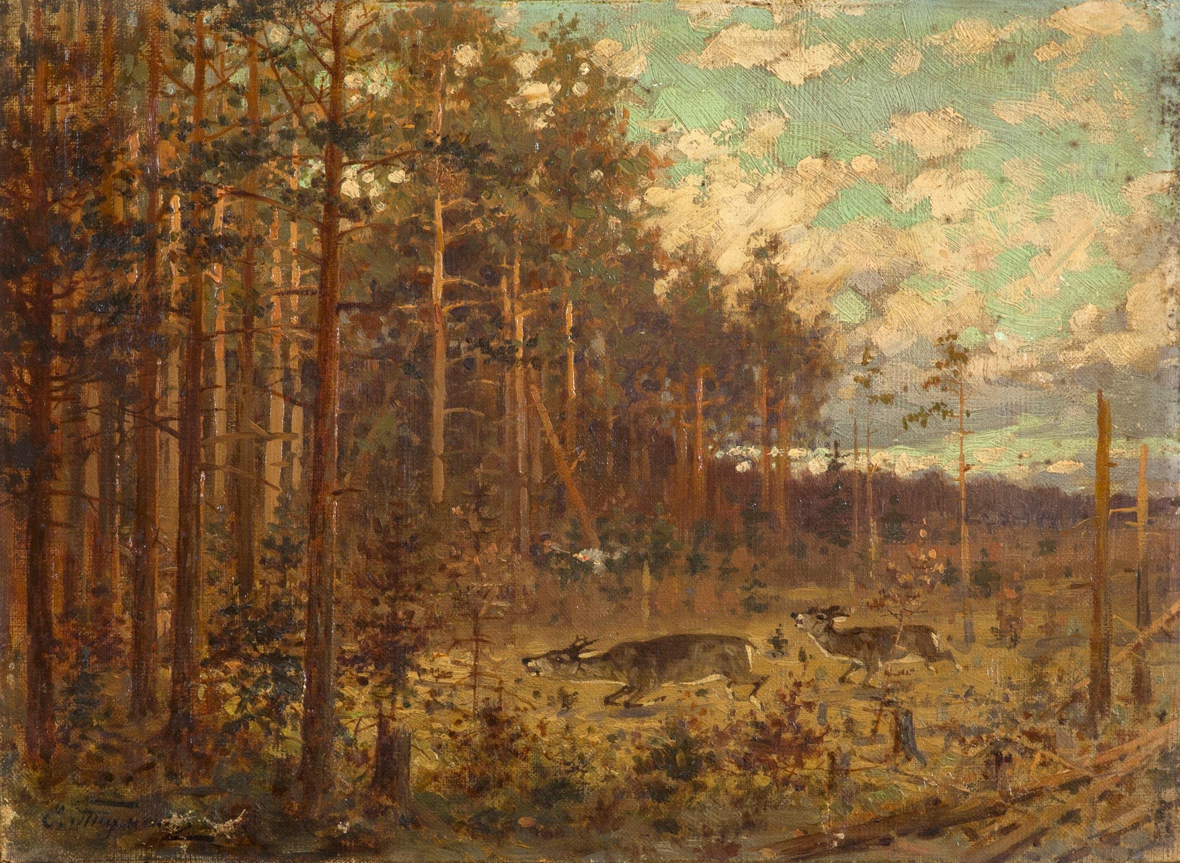 Олени в лесу.