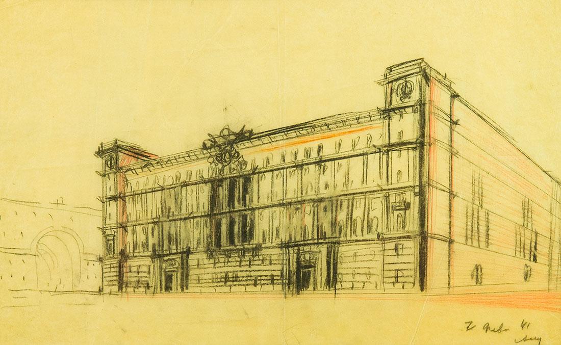Эскиз к проекту административного здания на Лубянской площади.
