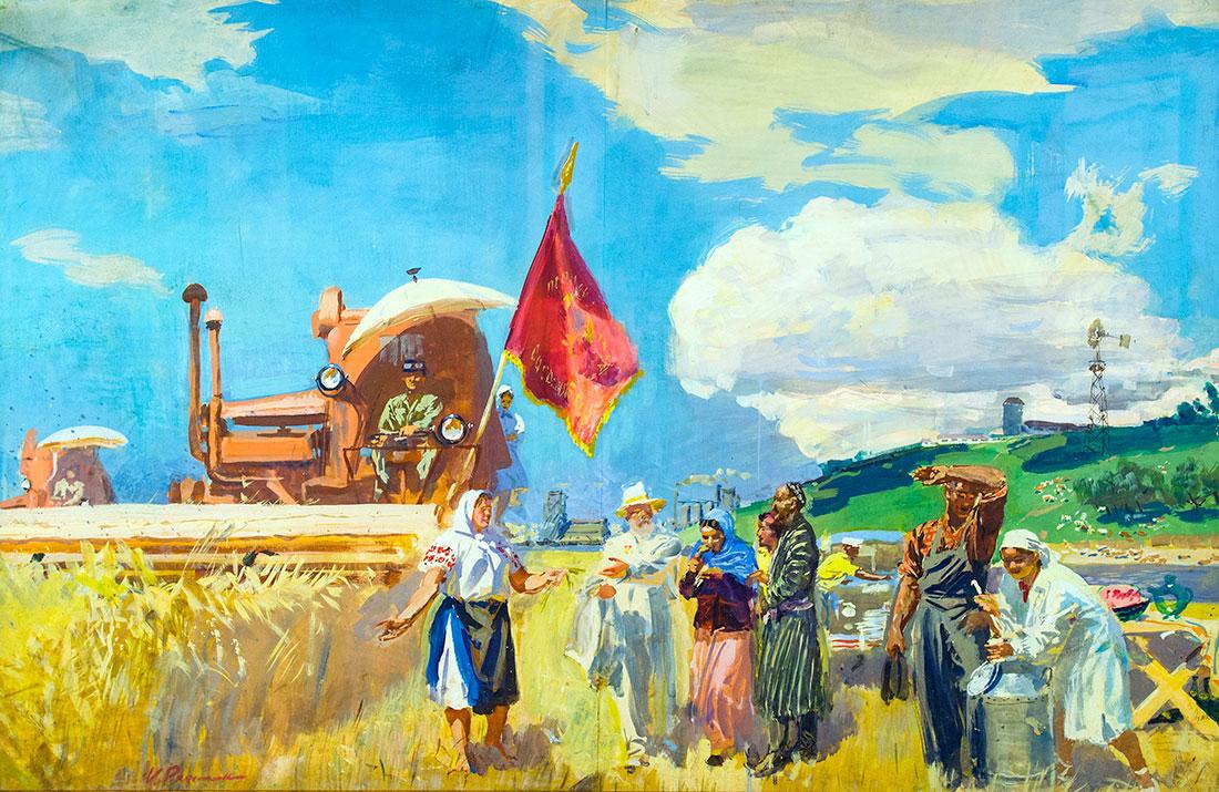 Урожай. Эскиз росписи аванзала советской выставки в Пекине.