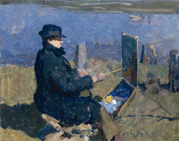 Пашня. На обороте: Неизвестный художник. Портрет Ф.П. Решетникова за работой.