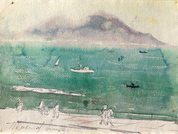 Вид Неаполя. На обороте: набросок морского пейзажа.