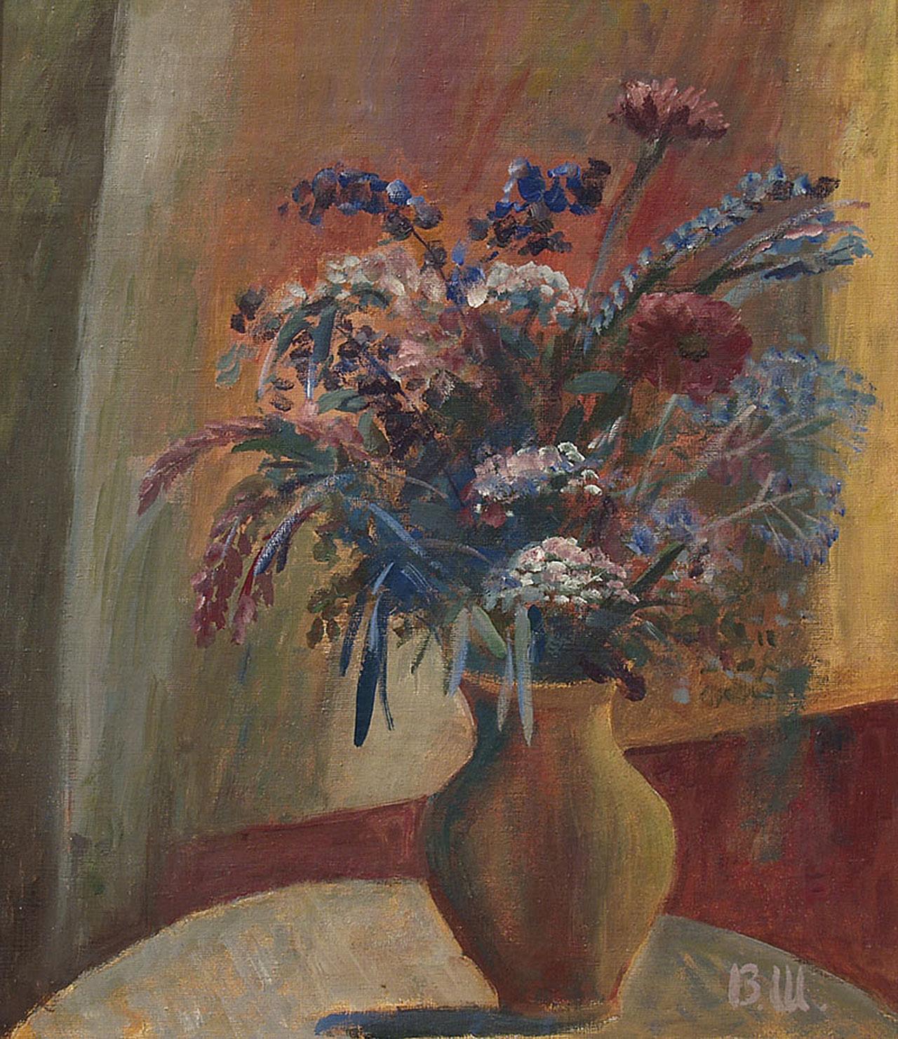 Натюрморт с цветами в глиняном кувшине.